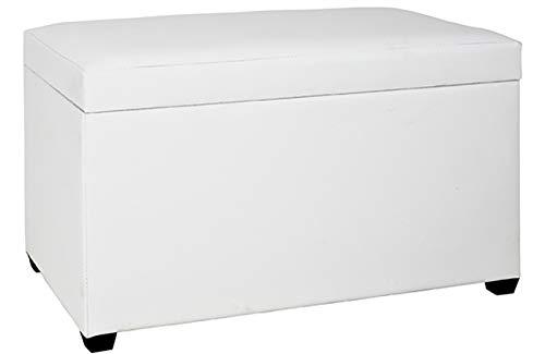 Haku Möbel Sitztruhe - MDF bezogen mit weißem Kunstleder - gepolsterte Sitzfläche Höhe 42 cm
