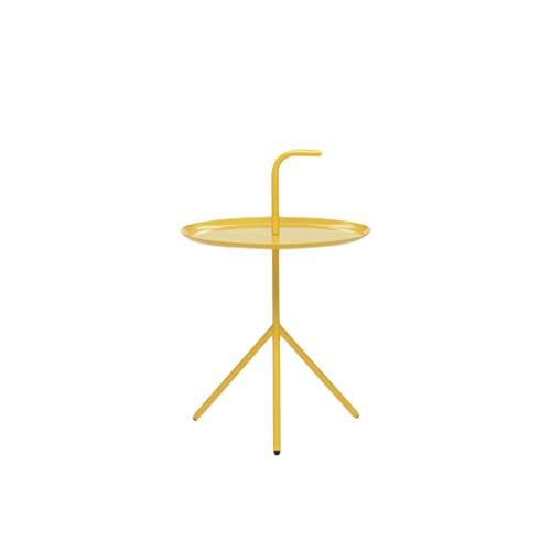 TONG HXF- Mesita pequeña, Moderna, de Hierro Forjado, sofá, Lado, móvil móvil mínimo Minimalista, Mesa de Noche Creativa Mesa Redonda Durable (Color : Yellow, Size : 54 * 35cm)