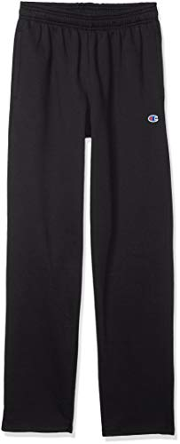 Champion Men's Powerblend Open Bottom Fleece Pant, Black, XL