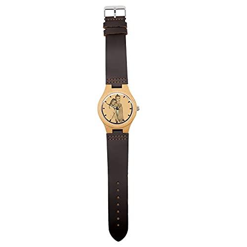 Personalisierte Custom Photo Watch für Männer, Frauen Gravierte Bilduhr(braun Männer-45mm)
