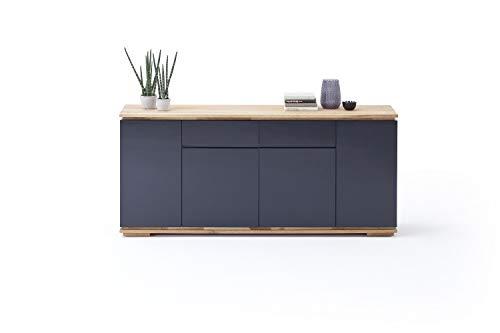 Möbel-Store24 Sideboard Schrank Asteiche-massiv Hochglanz lackiert geölt schwarz Holz 182 cm Chiara M48451AS1