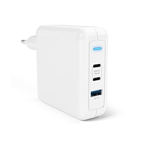Cargador USB C 78W Cargador rápido PD de 60 W y 2 Puertos y QC3.0 de 18 W y 1 Puerto para iPhone 12 11 XS X SE 2020, iPad Pro 2020, MacBook Air 13, Galaxy