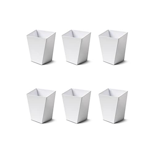 Juego de 40 cuencos de postre, vasos de plástico desechables, color blanco, 58 x 58 x 75 mm
