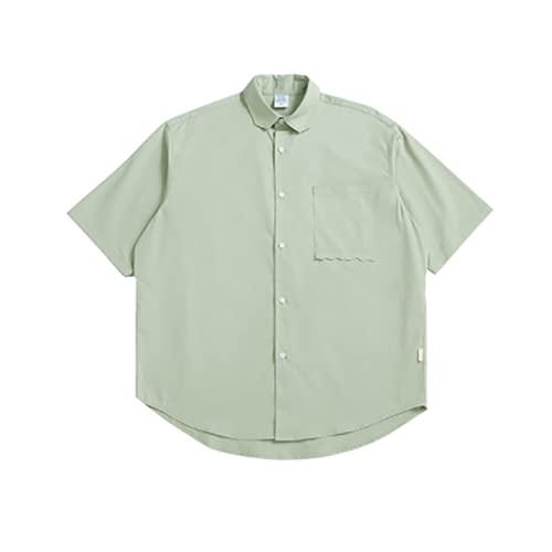 W&TT Camisas para Hombre Camisa de Ocio Suelta de Manga Corta Camiseta de Verano con Solapa y Botones sólidos...