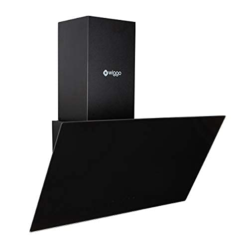 Wiggo Dunstabzugshaube 60cm kopffrei I Abluft Umluft Dunstabzug 300m³/h - LED Touch-Bildschirm 3 Stufen I Schräghaube inkl. Fettfilter und 2x Kohlefilter I Abzugshaube mit Glasfront schwarz