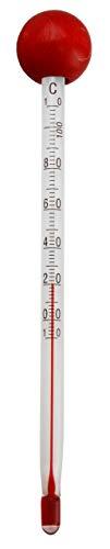 Lantelme Tee Tassen Thermometer Glas Holzkugel rot Temperaturbereich bis 110 °C für Teewasser in Kanne und Teeglas 4759