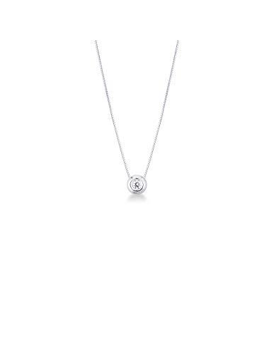 Gioielli di Valenza - Collana Punto Luce in Oro Bianco 18k con Diamante 0,10 carati - PU01010BB