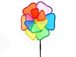 1x - Molino de viento de doble hélice de la flor del cielo de arco iris de PVC 31 y 22 cm - Calidad COOLMINIPRIX®