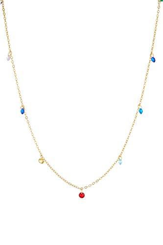 Córdoba Jewels | Gargantilla en Plata de Ley 925 bañada en Oro con Piedra semipreciosa con diseño Colors Charm Gold