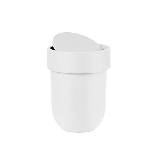 UMBRA Waste Can Touch. Poubelle de salle de bain Touch, couvercle rotatif. Plastique moulé. Coloris blanc. 5.9L. Dimension 19.1x26cm