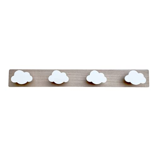 Perchero Pared Infantil Nubes Percha Habitación Bebé Decoración Dormitorio Baño Niña Niño Nórdico Madera Blanco 55 * 7 cm