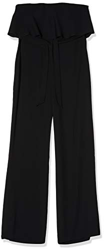 Amazon-Marke: TRUTH & FABLE Damen Jumpsuit mit Carmen-Ausschnitt, Schwarz (Black), 40, Label:L