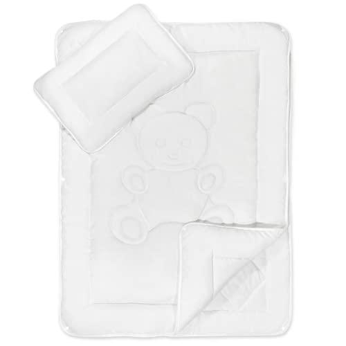 KiGATEX Bettdecken Set mit Bärchensteppung für Kinder & Babys - zertifizierte Bettwäsche mit Kissen & Decke - Allergiker geeignet - 100 x 135 cm