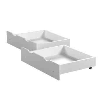 Children\'s Beds Home - Cajones dobles - Almacenamiento debajo de la cama - Tamaño 180x80, Color Blanco
