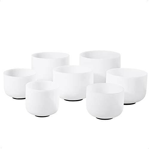 CVNC 432HZ 6 12 Inch Set of 7 PCS Frosted Chakra Quartz Crystal Singing Bowl For Sound Healing product image