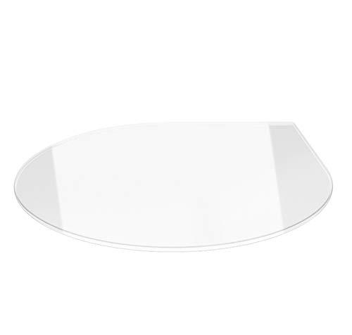 Tropfen 100cm - Funkenschutzplatte Kaminbodenplatte Glasplatte f.Ofen u. Kamin (Klarglas - Tropfen 100cm - ohne Dichtung)