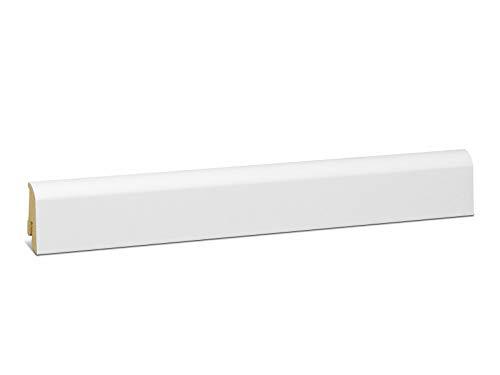 KGM Laminatleiste Neuburger | weisse Sockelleisten 40mm ✓Clip Leiste für unsichtbare Befestigung ✓abgerundete Leiste | mdf Fußleiste weiß 18x40mm mit Qualitätsfolie | Länge 2.5m