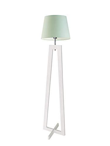 Kos - Lámpara de pie de madera, pantalla de menta, marco de madera blanca