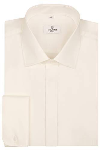 Wilvorst Wilvorst Smokinghemd, Haikragen, Bodyfit, Ivory, 100% BW Größe 37