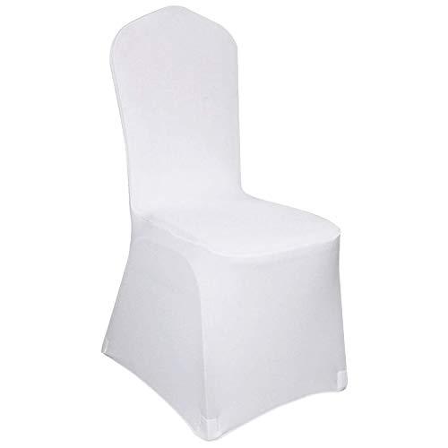 Hengda Housse de Chaise,50 pièces Blanches Housses de Chaise universelles Chaise élastique pour Mariages et célébrations Facile d'entretien et Durable