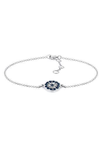 Elli Mujer Plata de ley 925de cristal swarovski pulsera con cuentas de ojos malvados de 17cm 0201790416