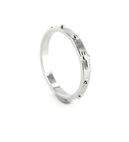 Rosary Ring in Sterling Silver with 10 Round Beads, Italian Size: 18 - Internal Diameter Approx. 18.5 mm / 0.728 in