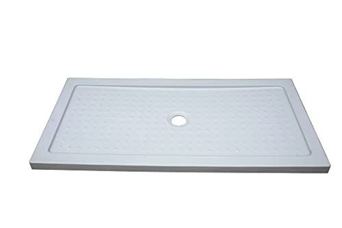 ONDEE - Plato de ducha YQUA, plato de mesa extraplano, 80 x 150 x 4 cm, tratamiento antideslizante, acrílico reforzado, sin desagüe, color blanco
