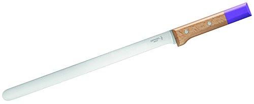 Opinel - N°123 Couteau à Carpaccio Parallèle Pop - Couteau Cuisine Tranches Fines - Couteau Cuisine Professionnel Lame INOX 30 cm et Manche en Bois de Hêtre - Violet