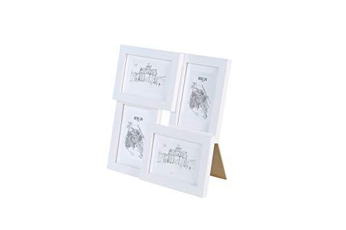 Classic by Casa Chic - Echtholz Bilderrahmen Collage - Weiß - 4 Rahmen 10x15 cm - mit hichwertigem Passepartout - Echthglas - zum Aufstellen oder Aufhängen - Rahmenbreite 2cm