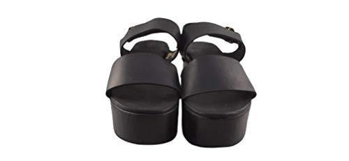 Un Paso Más - Sandalia Plataforma Piel Tachuelas (3DZ1042) - Color Negro - Zapato Tacón Casual Verano Mujer Talla 36