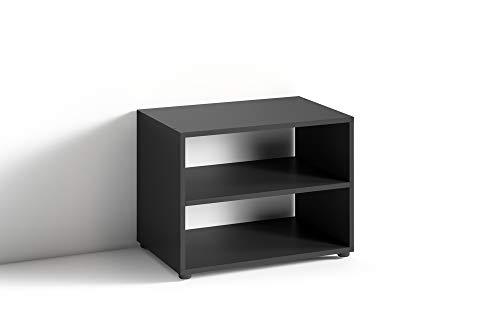 HOMEXPERTS TV Stand VANCOUVER / kleines Regal schwarz / Beistelltisch 60 cm breit / Wohnzimmertisch / Schrank / TV Bank / TV Tisch / Schwarz / 60 x 45 x 39 cm (BxHxT)
