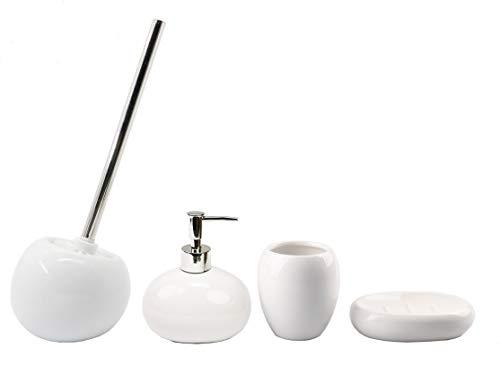 BM 4087 Set di Accessori da Bagno in Ceramica Bianco, Set Accessori Bagno Completo 4 Pezzi, Dispenser, Portaspazzolino, Portasaponetta, Portascopino
