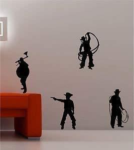 Online Design 4 X Cowboys & Indiens Far West Citation Art Mural Autocollant Vinyle Enfants Chambre - Vert Forêt
