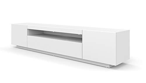 LOWBOARD 200 cm TV-kast Solo, onderkast met LED, televisiekast, tv-kast, dressoir RTV, TV-kast, hifi-tafel, LED-verlichting, wit zwart grijs grafiet hoogglans modern 200x37x41 cm Weiß Matt (Ganz) Ohne Beleuchtung