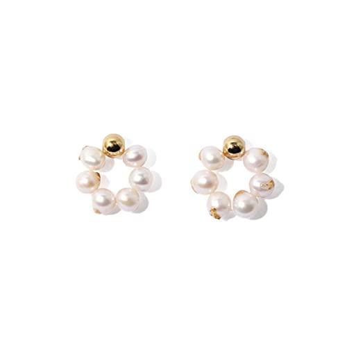 925 Aretes De Latón con Aguja De Hongo Blanco Aretes Circulares Simples Alrededor De 20 * 20 Mm Aretes para Mujer Aretes De Perlas