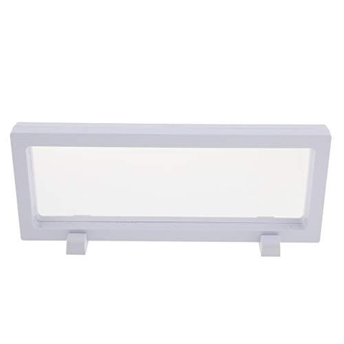 Bonarty Coin Display Box 3D Floating Frame Displayhalter mit Ständern für Herausforderungsmünzen, Medaillons, Schmuck Weiß - Weiß 9x23cm