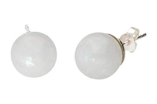 Pendientes de bola, 10 mm, labradorita blanca sobre plata 925