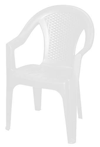 Sedia da giardino impilabile in bianco – monoblocco in rattan sintetico – Sedia impilabile in plastica (1 pezzo – bianco)