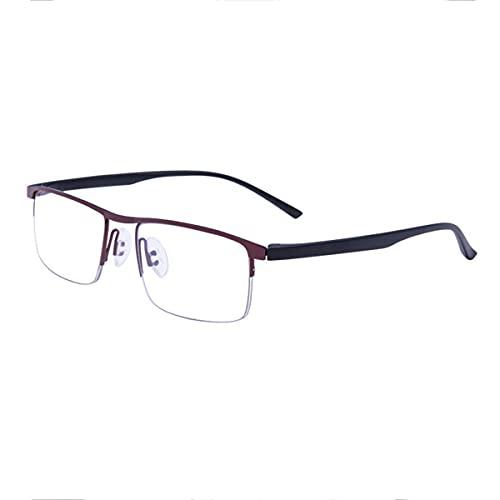HAOXUAN Gafas de Lectura para Hombres y Mujeres, Gafas multifocales progresivas, dioptrías de Lectura de Ordenador con luz Azul, 1,00 a +3,00,Rojo,+1.00