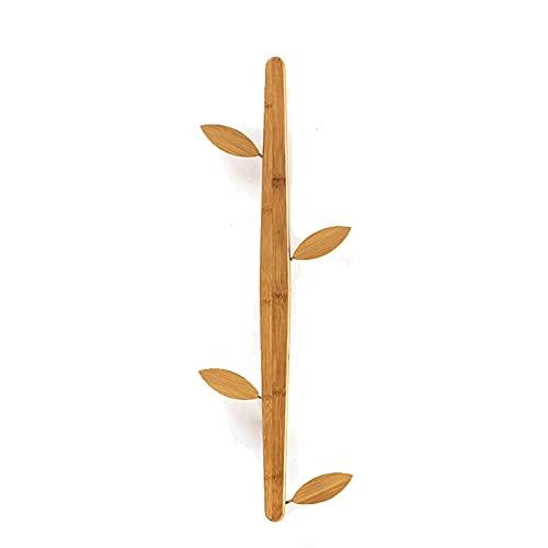 Perchero Perchero Perchero Perchero Árbol de bambú Perchero Perchero Perchero Moderno para Montar en la Pared con 4 Ganchos de Hojas Desmontables para Gorra de béisbol Abrigo Cartera para baño (Colo