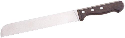 Rosenstein & Söhne Küchenmesser Edelstahl: Brotmesser mit 20-cm-Klinge und Griff aus Blackwood-Holz (Brotmesser Wellenschliff)