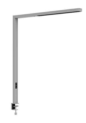 Staande lamp LED MAULsirius colour vario, dimbaar, bewegingssensor, daglichtsensor, hoogte 120 cm, klemvoet, aluminium, zilver, 8259395