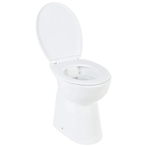 vidaXL Hohe Spülrandlose Toilette für Größere Menschen Senioren Soft-Close Absenkautomatik Stand WC Badezimmer 7cm Höher Keramik Weiß