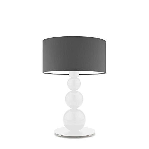 Honoluu - Lámpara de mesita de noche, pantalla de color gris acero, marco blanco
