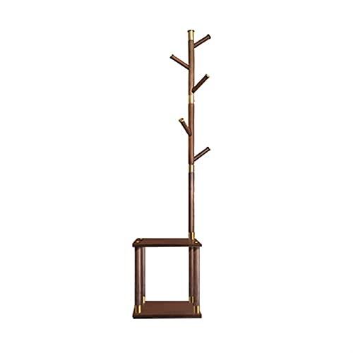 LZL Cantidad Moderna de la Capa de Haya Creativa, Soporte de la Capa de Madera Maciza, árbol de la Capa de vestíbulo de pie para Abrigos, Sombreros, Bolsos, Bolsos (Color : Walnut)