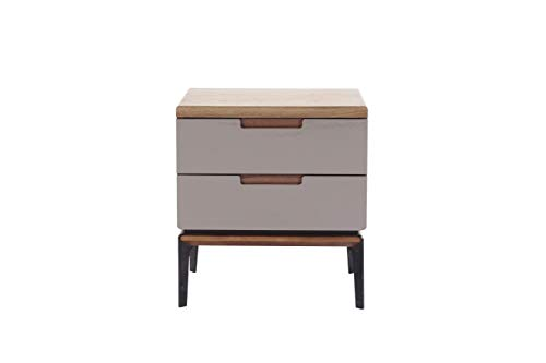 Amazon Brand - Rivet Side Table, 50 x 40 x 54.5 cm, Walnut/Grey