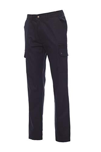 PAYPER Forest Pantalone da Uomo multistagione Lavoro con Tasche Laterali Anteriori Posteriori Chiusura Zip 100% Cotone (XS, Blu Navy)