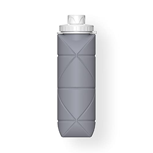 LZYANG Botellas De Agua De Silicona Plegables Botellas De Agua Blanda Botella De Agua Sin BPA Botella De Agua Portátil De Silicona De Grado Alimenticio A Prueba De Fugas para Viajes (Gris)