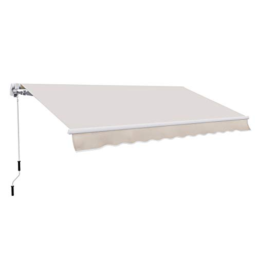 Outsunny 8' x 7' Patio Retractable Awning/Manual Exterior Sun Shade Deck Window Cover, Beige
