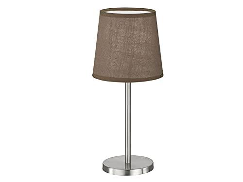 Kleine FHL easy! EVE - Lámpara de mesa con pantalla de tela (14 cm de diámetro), color plateado y marrón